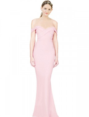 Cheap Long Stretch Crepe High Low Pink A-Line Ayad Bridesmaid Dress Australia