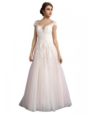 Cheap Long Tulle Cathedral Train Ivory & Champagne A-Line Mariana Wedding Dress Australia