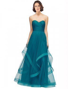 Cheap Long Tulle Floor Length Turquoise A-Line Lacey Bridesmaid Dress Australia